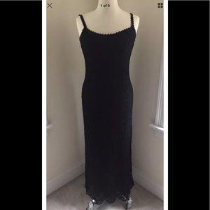 Cache Crochet Black Thin Strap Maxi Dress Size 10